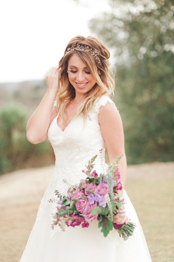 Candid laughing bride in Julian California